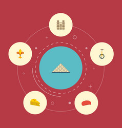flat icons cathedral pyramid unicycle and other vector image