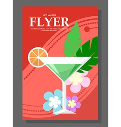 Flyer with a cocktail on the beach Flowers sunny vector image