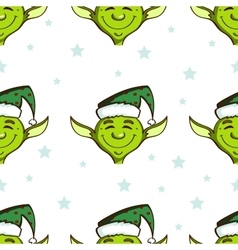 Green Elves Seamless Pattern vector image