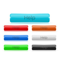 help buttons glass rectangular 3d icons vector image