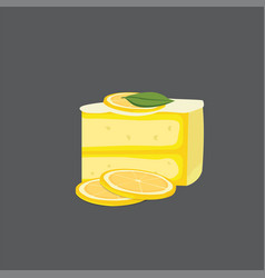 Lemon cheesecake modern cake vector