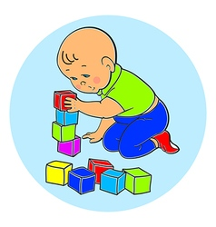 Little lovely baby boy playing with toys Kid plays vector image