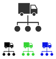 Lorry distribution scheme flat icon vector