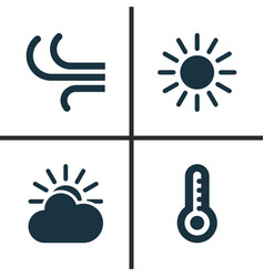Meteorology icons set collection of sun-cloud vector