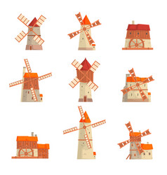 rural windmills set collection of traditional vector image