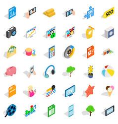 Seo icons set isometric style vector