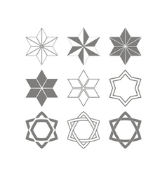 Set of monochrome icons with star of david vector