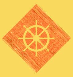 Ship wheel sign red scribble icon vector