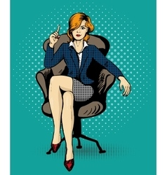 Successful business woman sit in chair vector