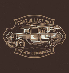 T-shirt label design with fire truck vector