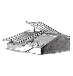 Three quarter span roof frame vintage vector