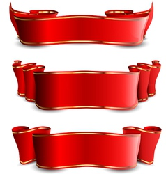 Three red tapes with golden stripes vector image vector image