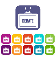 Tv with the debate inscription icons set flat vector