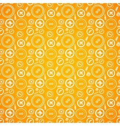 Vintage buttons sew seamless pattern in orange vector