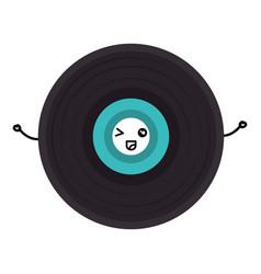 Vinyl disk kawaii character vector