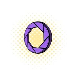 Violet camera aperture icon comics style vector image