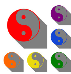 Ying yang symbol of harmony and balance set of vector