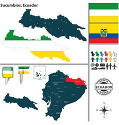 Map of sucumbios ecuador vector