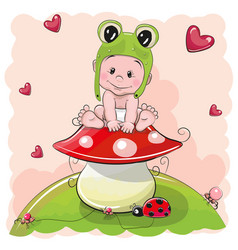 cute cartoon baby in a froggy hat vector image