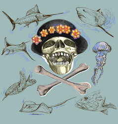 Pirate skull and underwater life - hand drawn vector