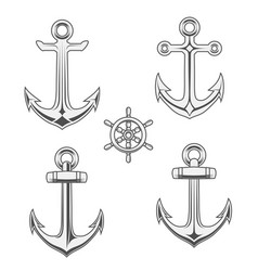 anchors and rudder in monochrome style vector image