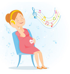 pregnant woman enjoy music vector image