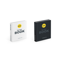 Realistic black and white square books on the vector