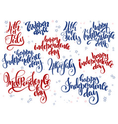 Independence day hand lettering set of vector