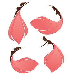 girls look like a flowers vector image