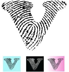Fingerprint Alphabet Letter V vector image