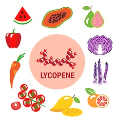 Best sources of lycopene in fruits and vegetables vector
