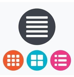List menu icons content view options vector