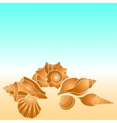 Sea shells hand paint starfish scallop vector
