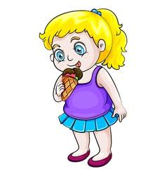 A young asian girl eating icecream vector