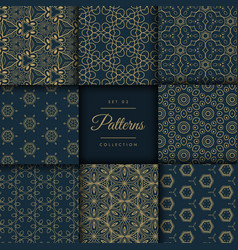 Abstract dark patterns pack in floral style in vector