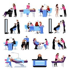 Beauty salon people set vector