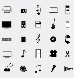 Black universal web icons set on gray background vector