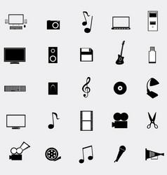 black universal web icons set on gray background vector image