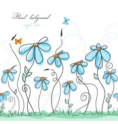 blue floral garden vector image