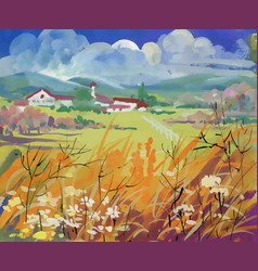 bright field with houses and mountains under vector image