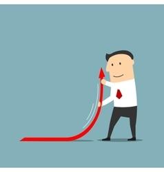 Businessman raising up arrow of financial graph vector