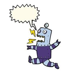 Cartoon terrified robot with speech bubble vector