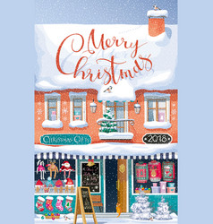 Christmas market greeting card vector