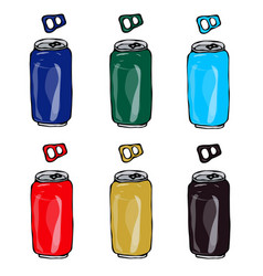 collection of beer cans in different colours blue vector image vector image