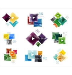 Collection of colorful square web boxes vector image vector image