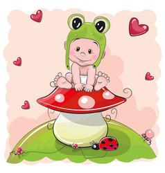 cute cartoon baby in a froggy hat vector image vector image