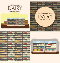 Dairy department milk shelf with fresh healthy vector