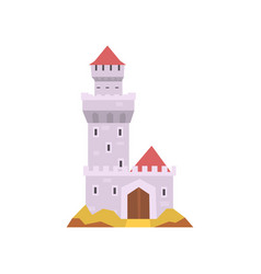 Fairy-tale castle isolated on white stone fort vector