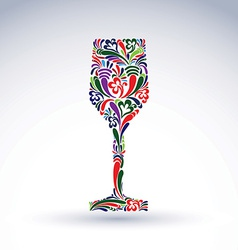 Fantasy decoration art design goblet with bright vector