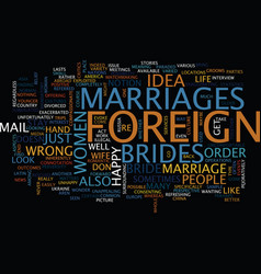 Foreign brides text background word cloud concept vector